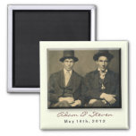 Save the Date magnet with vintage portrait.