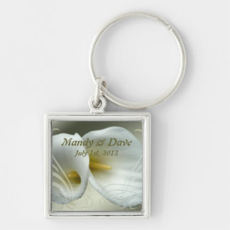 Save the Date Magnet with white lily design Silver-Colored Square Keychain