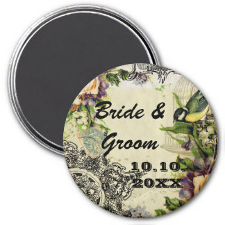 Save the Date Magnet Yellow Song Bird Cage Floral