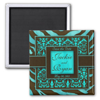 Save the Date Magnet Zebra Damask BB