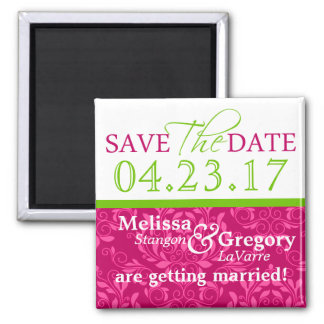 Save The Date Magnets Hot Pink Damask Green 2017