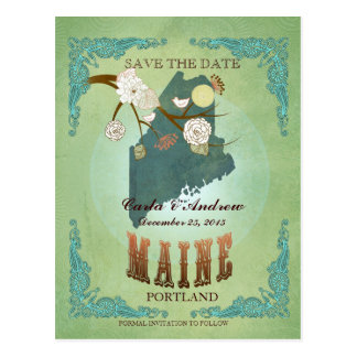 Save The Date - Maine Map With Lovely Birds Postcard