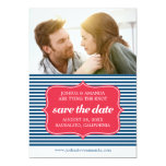 Save the Date Marine Blue Nautical Stripes 5x7 Paper Invitation Card