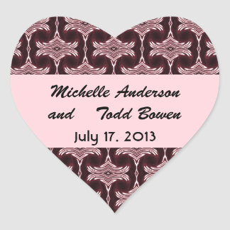 Save the Date Maroon Art Deco Heart Sticker