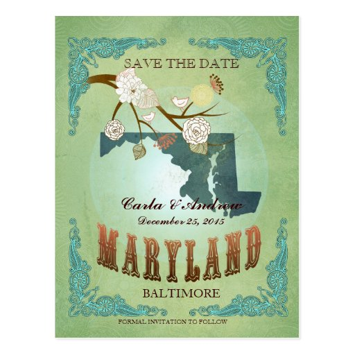 Save The Date - Maryland Map With Lovely Birds Postcard