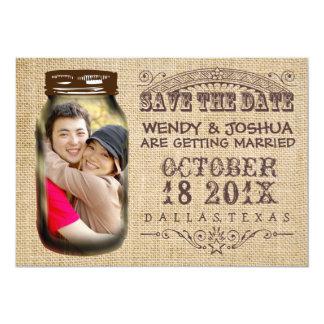 "Save The Date Mason Jar Burlap Rustic Wedding 5"" X 7"" Invitation Card"