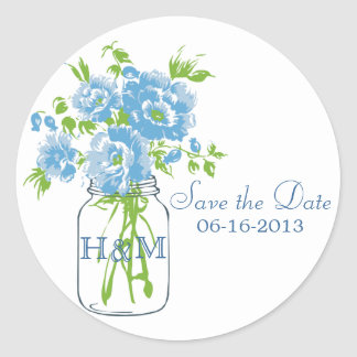 Save The Date Mason Jar Flowers Stickers Side