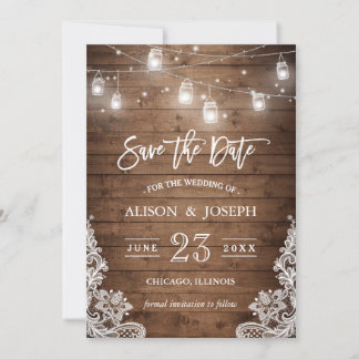 Save The Date Mason Jars Lights Rustic Wood Lace