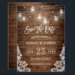 """Save The Date Mason Jars Lights Rustic Wood Lace Card<br><div class=""""desc"""">================= ABOUT THIS DESIGN =================  Mason Jars Lights Rustic Wood Lace   Save The Date Card.  (1) For further customization,  please click the &quot;Customize&quot; button and use our design tool to modify this template. (2) If you need help or matching items,  please contact me.</div>"""