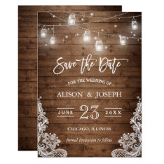 Save The Date Mason Jars Lights Rustic Wood Lace Card at Zazzle