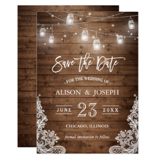 save the date mason jars lights rustic wood lace card - Wedding Invitations And Save The Dates