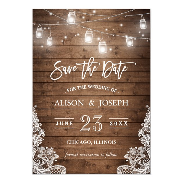 Save The Date Mason Jars Lights Rustic Wood Lace Card (back side)