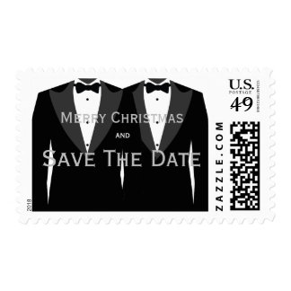 Save The Date Merry Christmas Gay Wedding Stamps