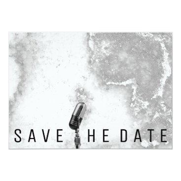 Beach Themed Save The Date Microphone Glitter Mint Gray Marble Card