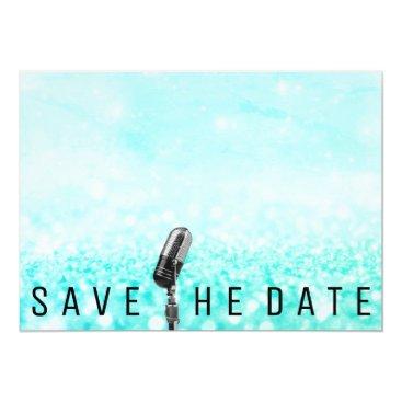 Beach Themed Save The Date Microphone  Glitter Ocean Blue Card