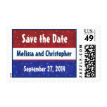 Save the Date Military Wedding Red White Blue Postage