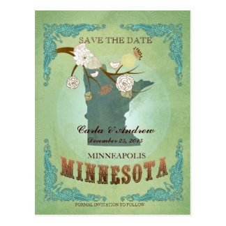 Save The Date - Minnesota Map With Lovely Birds Postcard