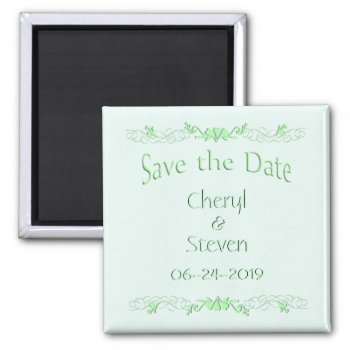 Save the Date Mint Green 2 Inch Square Magnet