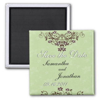 Save the Date Mint Green & Chocolate Brown Magnet