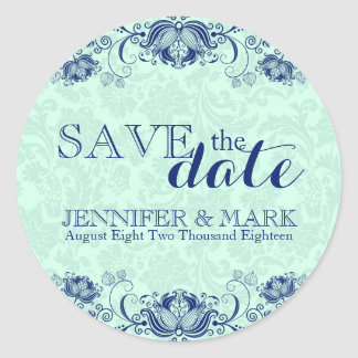 Save The Date Mint-Green Damasks 2 & Blue Lace Classic Round Sticker