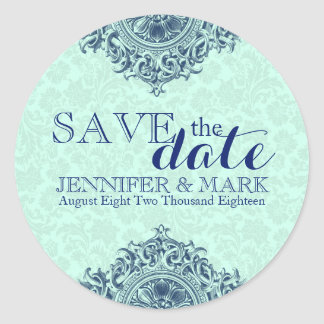 Save The Date Mint-Green Damasks & Blue Lace 2 Classic Round Sticker