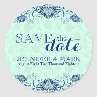 Save The Date Mint-Green Damasks & Blue Lace Classic Round Sticker