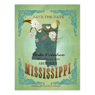 Save The Date - Mississippi Map With Lovely Birds Postcard