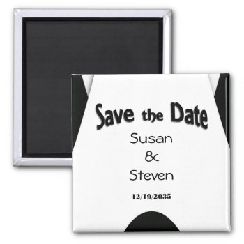 Save the Date Modern Black and White 2 Inch Square Magnet