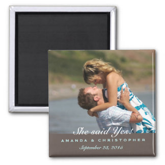 Save the Date Modern Brown & Blue Magnet
