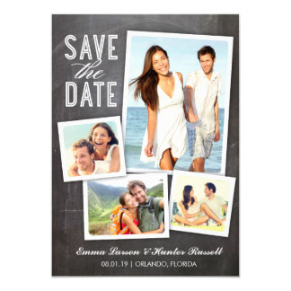 Save the Date | Modern Collage Chalkboard Card