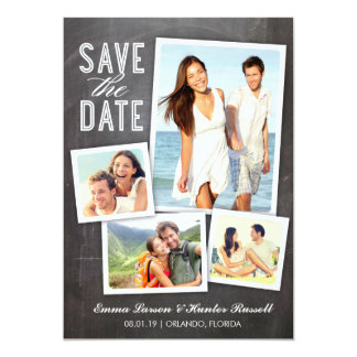 Save the Date | Modern Collage Chalkboard 5x7 Paper Invitation Card