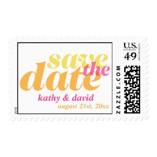 SAVE THE DATE modern custom wedding orange pink Postage