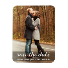 Save The Date Modern Engagement Magnet Lwb at Zazzle