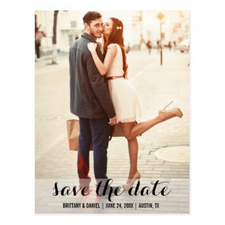 Save The Date Modern Engagement Postcard L