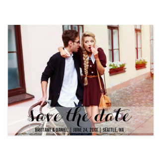 Save The Date Modern Engagement Postcard WB
