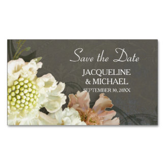 Save the Date Modern Floral Pastel Painterly Art Magnetic Business Card