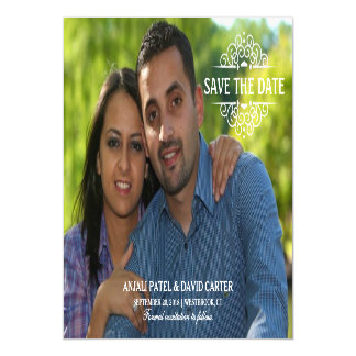 Save the Date Modern Full Bleed Photo Magnetic Card