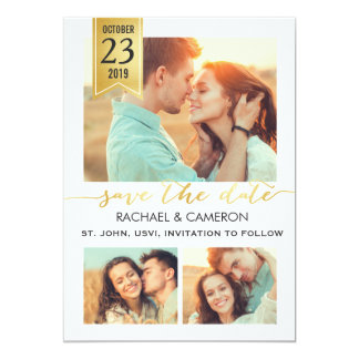 Save the Date | Modern Gold Banner 5x7 Paper Invitation Card