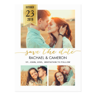Save the Date | Modern Gold Banner Postcard