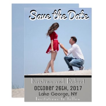Beach Themed Save the Date Modern Gray Black White Announcement