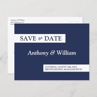 Save the Date Modern Minimalist Navy Blue White Invitation Postcard