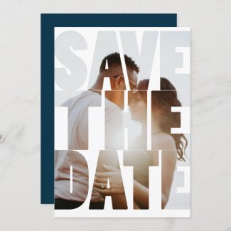Save The Date Modern Personalized Photo Announcement