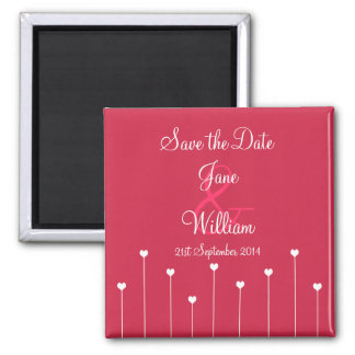 Save the Date Modern Pink Love Hearts Magnet