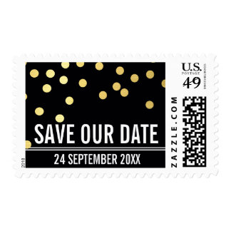 SAVE THE DATE modern plain gold confetti black Stamps