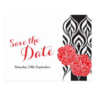 Save the date modern red dianthus wedding postcard
