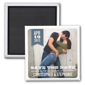 Save the Date Modern Rustic Photo Magnet | Gray