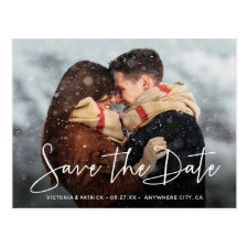 Save the Date Modern Script Typography Wedding Postcard