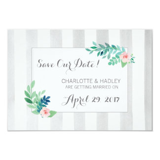 Save The Date Modern Stripes & Bohemian Floral Card