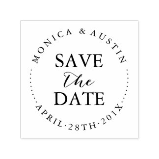 Save the Date | Modern Stylish Circle Lettering Self-inking Stamp