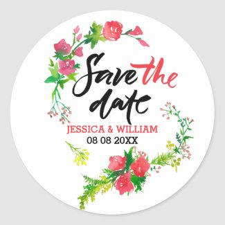 Save The Date Modern text Watercolor Flowers Classic Round Sticker